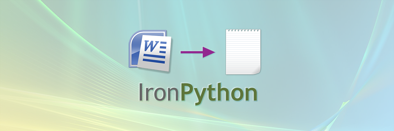 Converting a Word document to text using IronPython