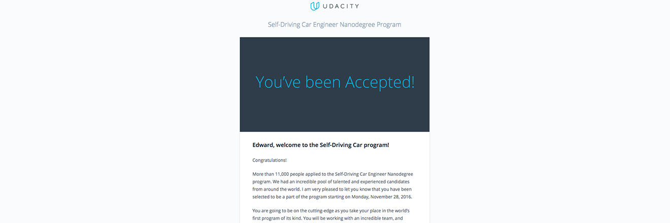 Got accepted into Udacity's Self-Driving Car Program